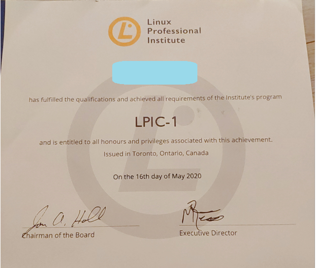lpic合格証レベル1